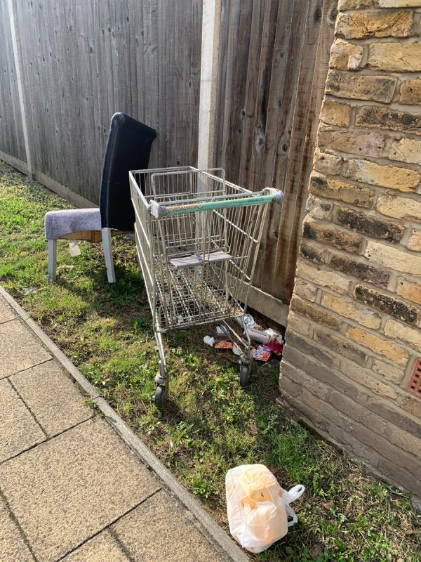 Trolley and chair fly tipped -86 Leahurst Road, London, SE13 5NN