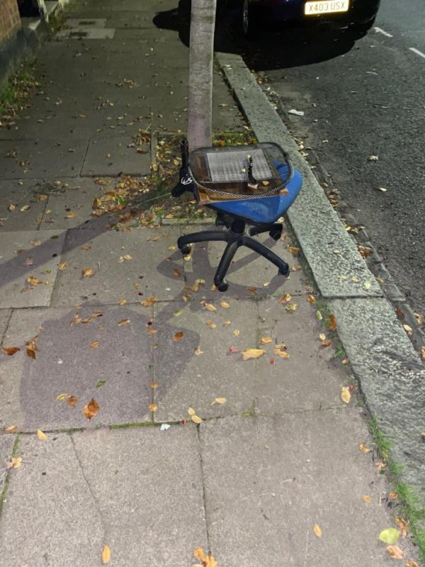 Reported earlier and supposedly not found. Resubmitting. Outside 11 strode road, next to tree-13 Strode Rd, London E7 0DU, UK