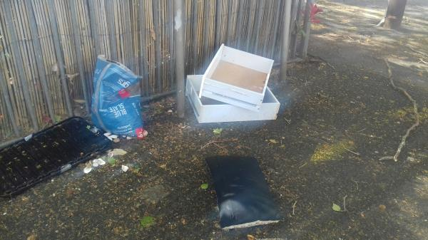 A small bag of building wastes and dismantled unit dumped  at Shipman Road junction with Throckmorton Road E16 -8 Throckmorton Road, Canning Town, E16 3DW