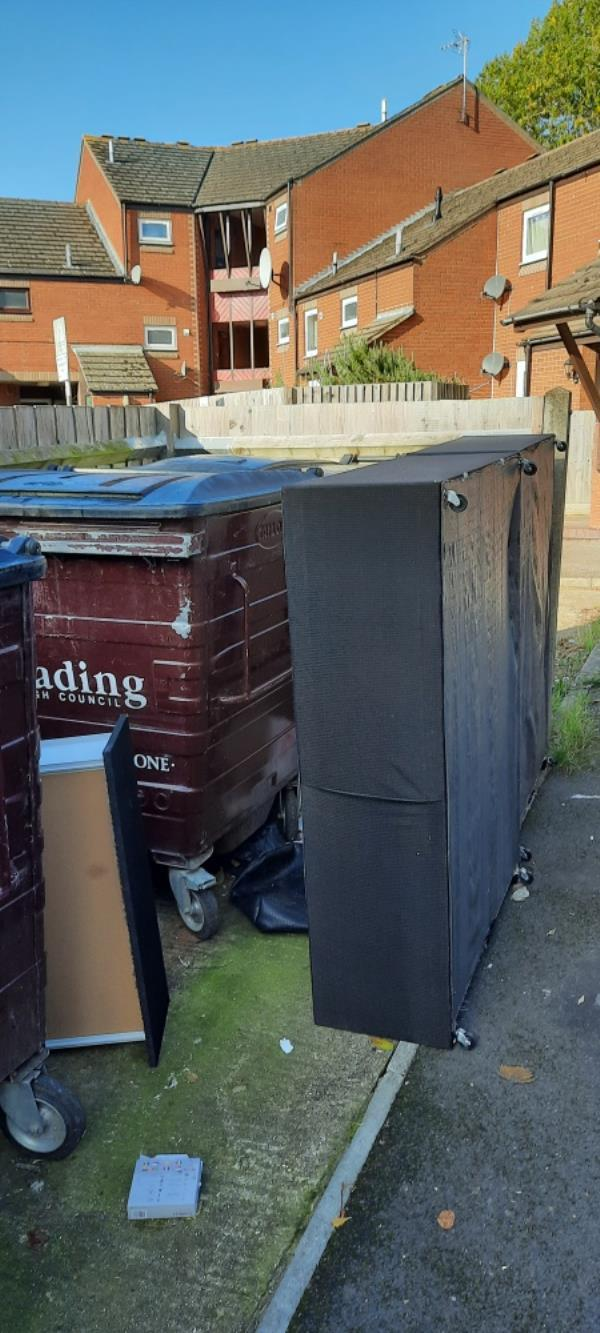 Old bed left in bin area-6 Lock Place, Reading, RG1 3HG