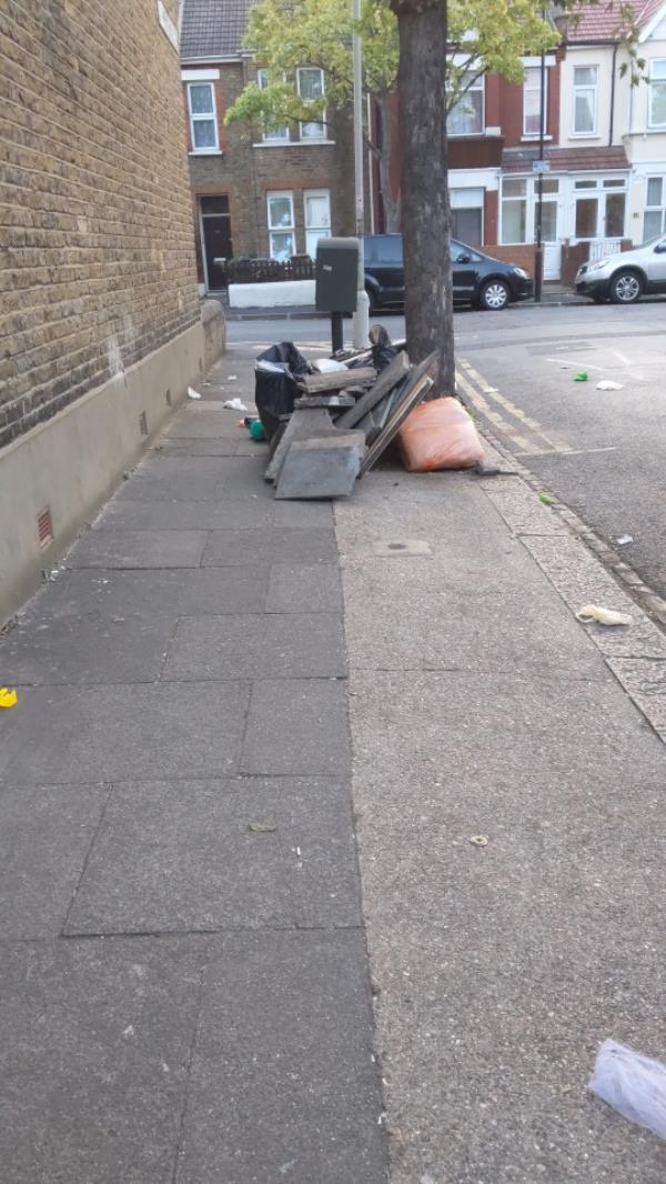 rubbish blocking pavement-3 Southern Road, Plaistow, E13 9HU