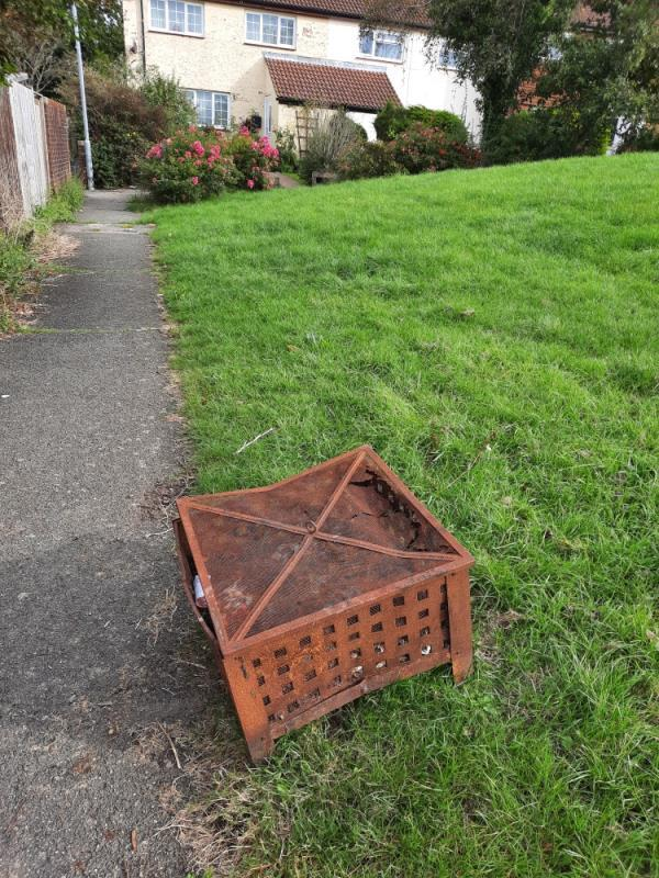 Please remove dumped rusted firepit, location is on the square green area I front of 25 Oulton Close. Thank you -19 Ranworth Close, Eastbourne, BN23 8DP