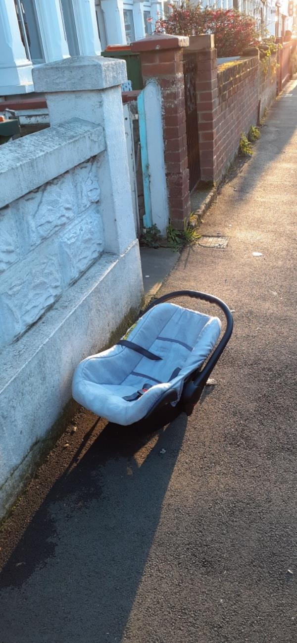 car seat in the street-290a Central Park Road, London, E6 3AD
