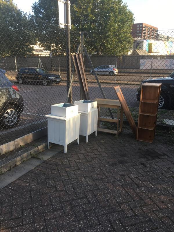 Collection of furniture dumped in the road-63 Evelyn Road, London, E16 1UB