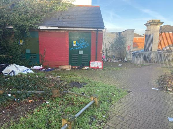Behind the park gates there is lots of litter and dumped rubbish including a shopping trolley and  commercial waste. Not a pleasant view especially in a park environment where tens of children pass every day for school. image 2-2 Winsor Terrace, London, E6 6LE