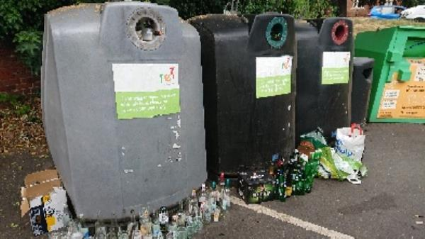 Bottle banks full needs to be emptied cleared excess bottles-Belgravia Court, Bath Rd, Reading RG30 2BL, UK