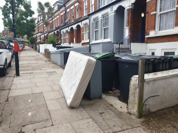 Hi. This mattress has been outside this location for more than a week. There are always large amounts of garbage dumped outside of this location.-62 Hillfield Avenue, London, N8 7DN