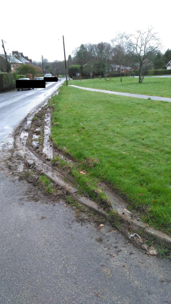Heavy vehicles are continually driving on the verge between Church Road and Lime Kiln Road extensively damaging the grass verge. Residents have spent many hours planting trees/shrubs and bulbs on this grass verge and the continued damage is causing the area to look unkempt. Please could you provide any suggestions to prevent this continued destruction of the verge.    -1 North Cottages Church Road, Mannings Heath, RH13 6JH
