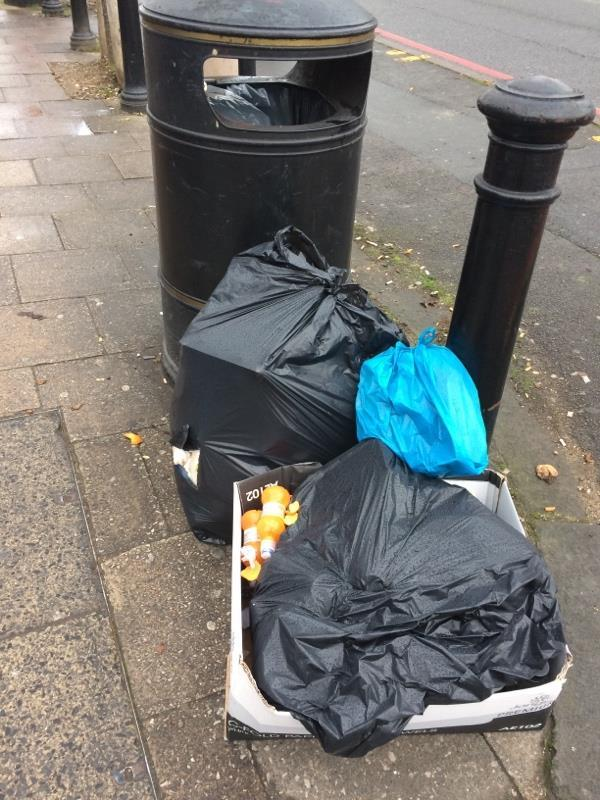 Bin bags - torn - of rubbish dumped on pavement - same place as last time - where the pile grew massive in a couple of weeks. Fine them-133-135 Oxford Road, Reading, RG1 7NE
