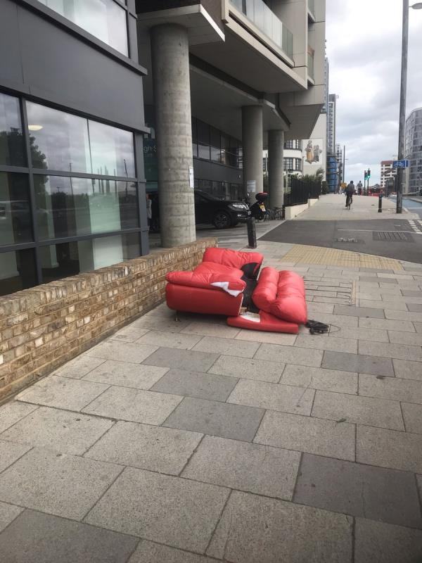 This sofa has been left outside the flats since Friday, I think. That was the first time I noticed it. It's still here today, so don't think it is being collected.-River Heights, 90 High Street, London, E15 2FA