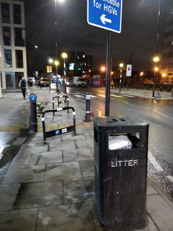 Overflowing litter bin box beside 62 Leytonstone Road E15-62 Leytonstone Road, London, E15 1SQ