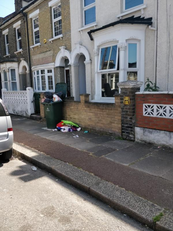 Flytipping on the pavement beside 30 Maryland Square E15-30 Maryland Square, London, E15 1HE