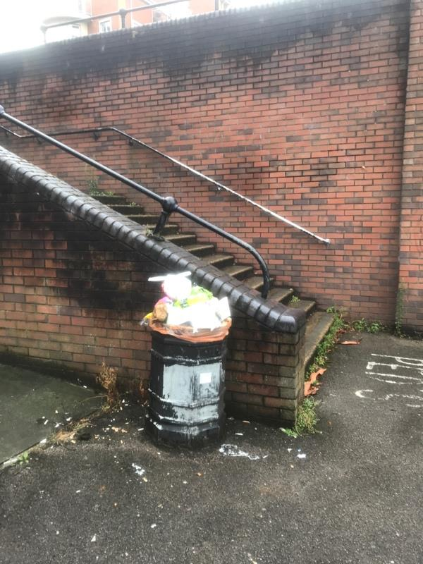 Overflowing bin-121 King's Road, Reading, RG1 4AE