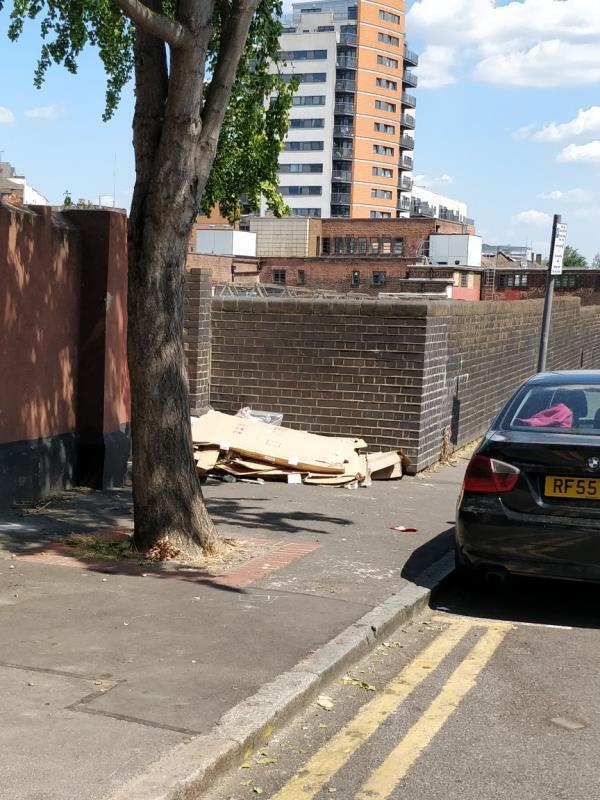 Cardboard boxes on the pavement at Manbey Park Road off The Grove E15-1b Manbey Park Road, London, E15 1EY