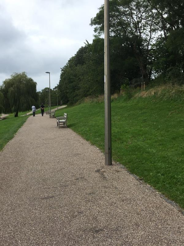 All lamp posts on the pathway on the Winsford Town Park are not working. In the top pathway nearest to the High Street side. -High Street, Winsford, CW7 4AF