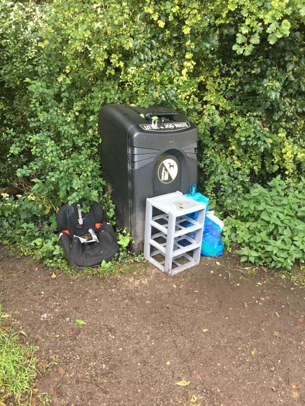 Bin full, waste dumped around it. Hough Lane, after junction of Lydyett Lane-23 Oak Tree Close, Barnton, CW8 4SP