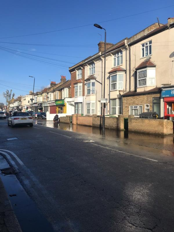 Tell us about your issue and a description of the location but please avoid giving personal details here. It's all completely flooded pavement and road so no pedestrians can get passed -Bridgepoint Lofts, 6 Shaftesbury Road, London, E7 8PF