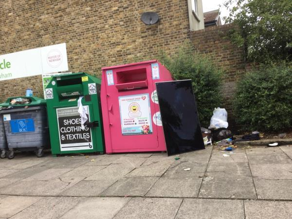 Flytipped tv and bags of waste on southchurch rd by recycling bank -5 Southchurch Rd, East Ham, London E6 6DZ, UK