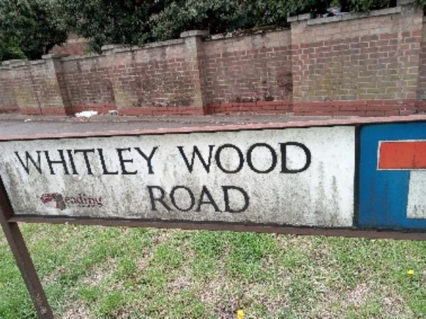 Dirty street nameplate -238 Whitley Wood Road, Reading, RG2 8TH