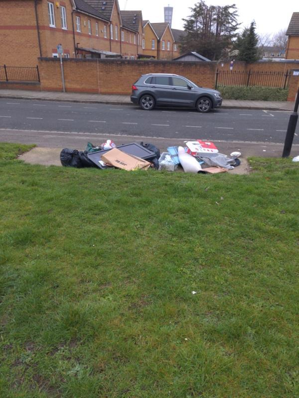 Lots more fly tipping opposite Delius Grove-1 Delius Grove, London, E15 2RG