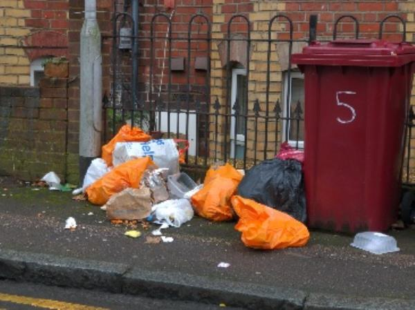 overflowing bins-3 Baker Street, Reading, RG1 7LJ