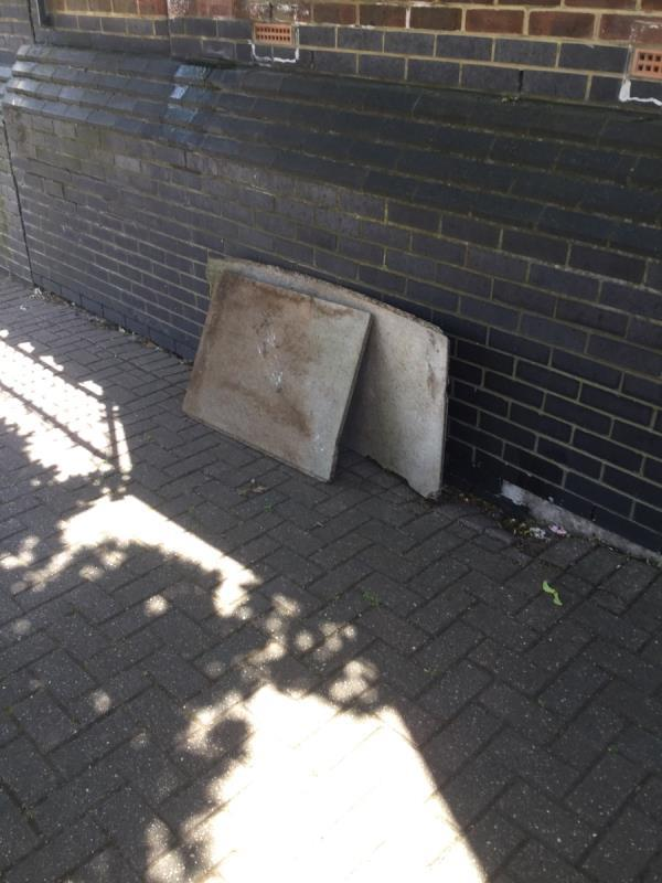 Between fulmer Road and woodcocks. Garden waste wood and general waste -61 Woodcocks, London, E16 3LF