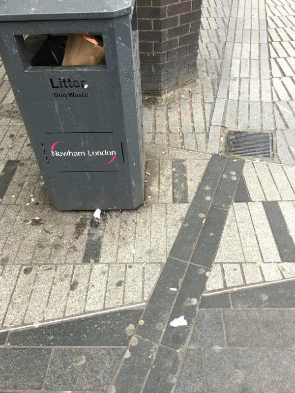 Litter bin is over flowing -54a Broadway, London, E15 1NG