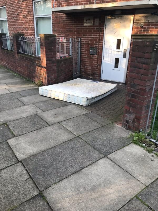 Fly tipping of mattress, at 275 Wick Road, E9 5ES-16 Benn Street, London, E9 5SU