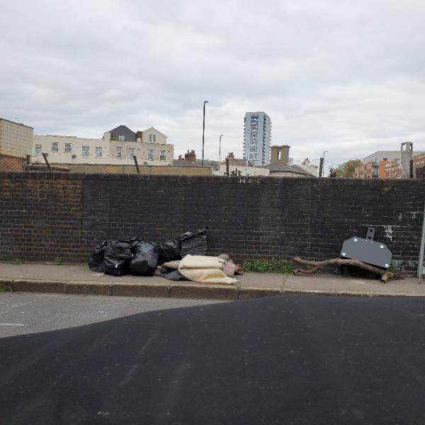 bin bags full of waste and old carpet and furniture tipped-20 Manbey Park Road, London, E15 1EY
