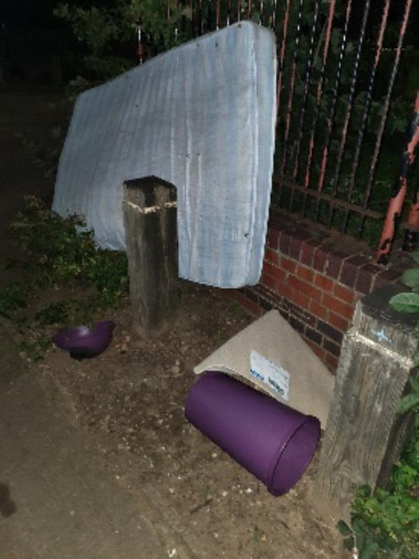 The old mattress I previously reported on 6/09/2019 as being dumped outside the gate to Stokeswood Park at the top end of Samson Road is still there and has now had a kitchen bin and a doormat added with it. -33 Samson Rd, Leicester LE3 9RR, UK