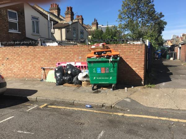 Again fly tipping in same spot next to recycling bin. This is a constant problem. Rubbish re appears every time you pick it up-21 Willis Road, London, E15 3HH