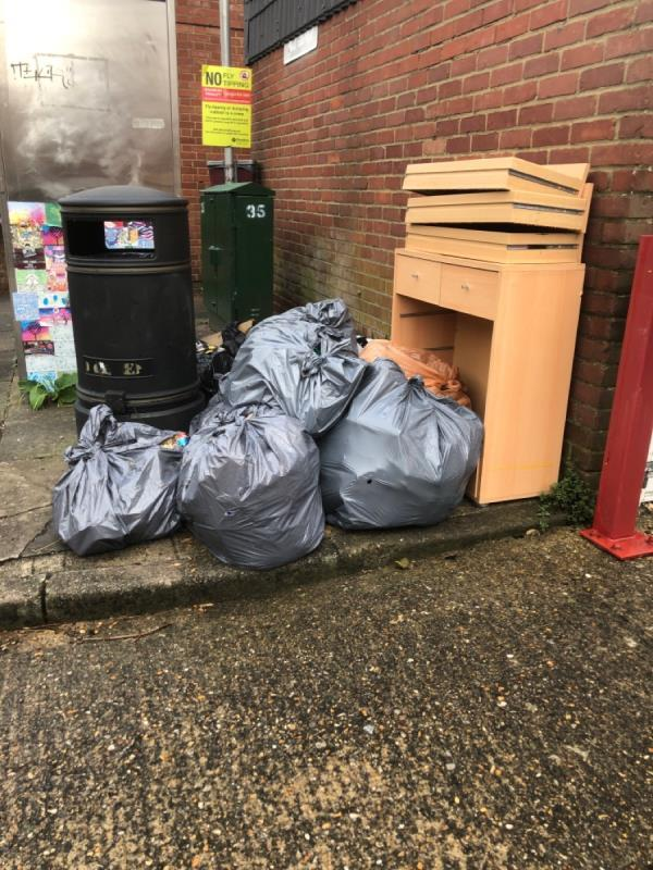 Several grey bags of rubbish, a chest of dreamers and clothes -2 Woodstock Street, Reading, RG1 3JT