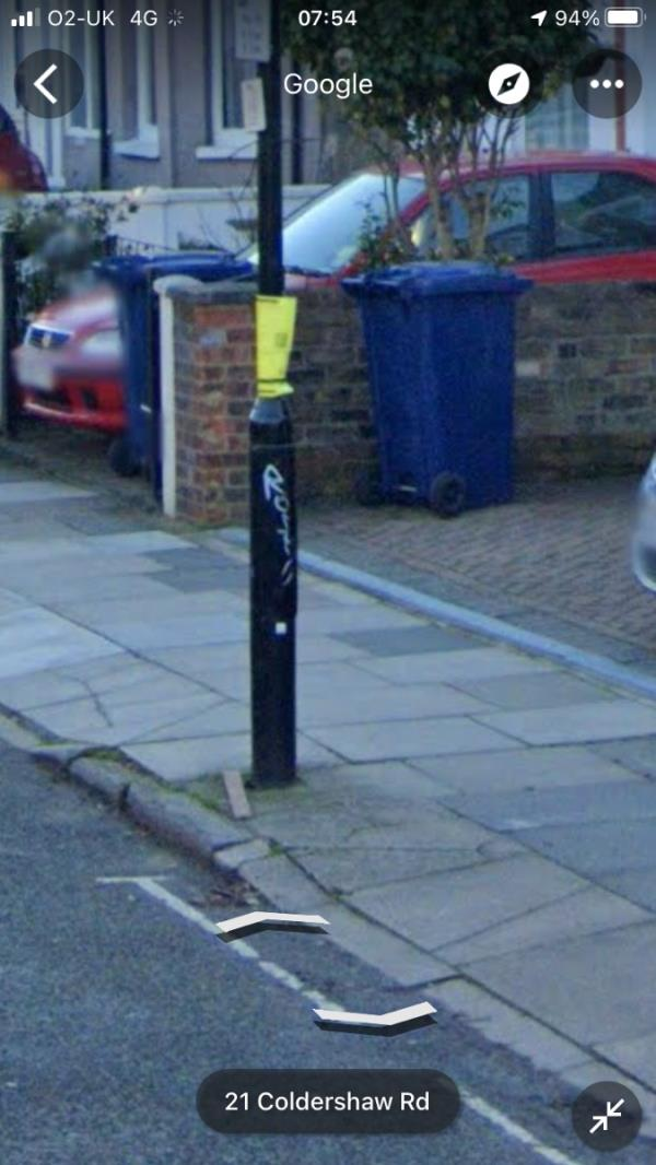 White felt pen tags are located on a lamp column IC119 outside 30 Coldershaw Road W13-29a Coldershaw Road, West Ealing, W13 9EA