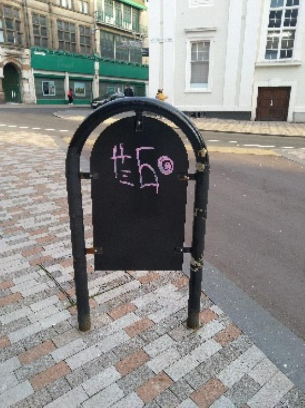 graffiti on back of sign located at bottom of King Street-8 Market St, Leicester LE1 6DP, UK
