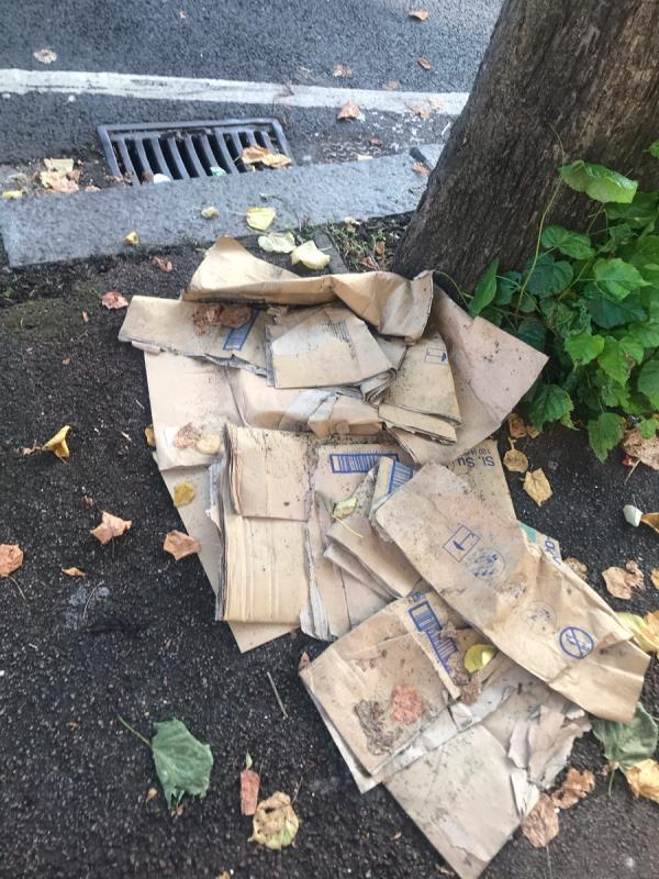 Discarded cardboard boxes-16 St. Albans Ave, London E6 6HQ, UK