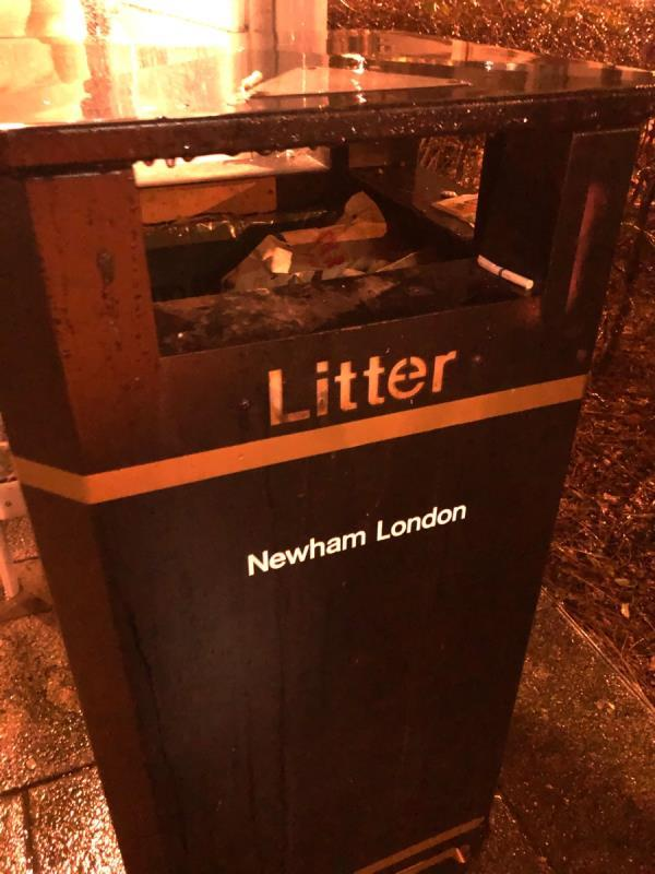 Bin full at sir Ludwig Guettmann health and wellbeing centre bus stop towards Leytonstone -24 Liberty Bridge Road, London, E20 1AJ