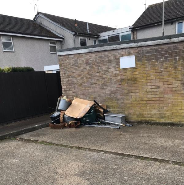 Multi dumped items alongside garages rear of 60-61 rowanberry Avenue Le36pp-29 Rowanberry Avenue, Leicester, LE3 6PN