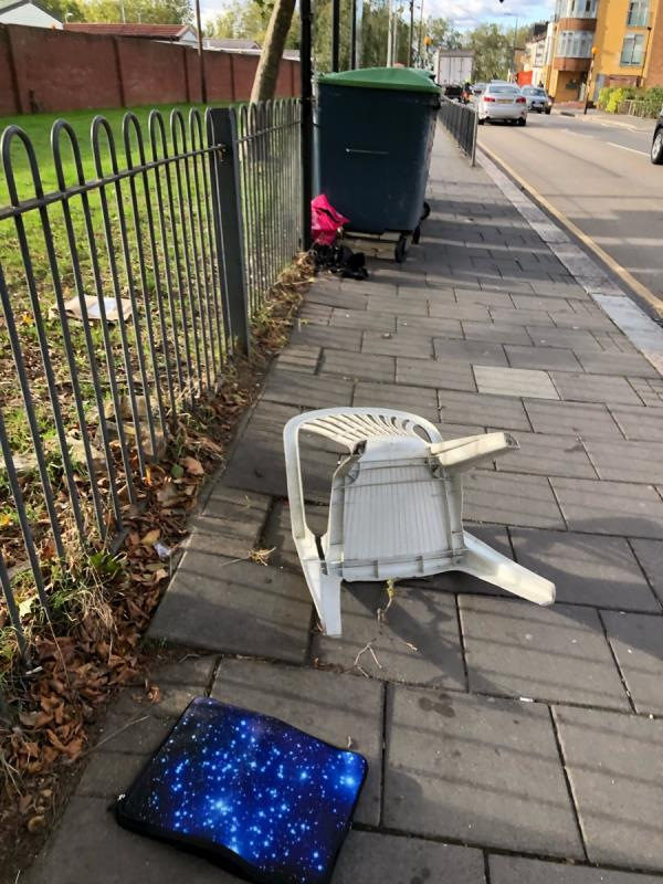 Fly tipping next to Major road recycling point -14 Parkway Crescent, London, E15 1AB