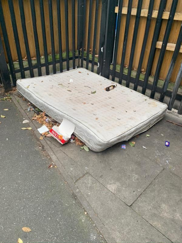 This is the 4th time I have reported this mattress. You say it's 'completed' each time but yet it's still there. I saw a primary school girl in uniform jumping on this yesterday, next to alcohol bottles, glass and possibly worse. Soon enough a child is going to get injured here. The mattress in on the long alleyway that runs between Southern Road Primary and Plaistow primary and has access to the allotments. If you close this case again without removing it, I will escalate this to a higher dept.-49 Southern Road, Plaistow, E13 9JD