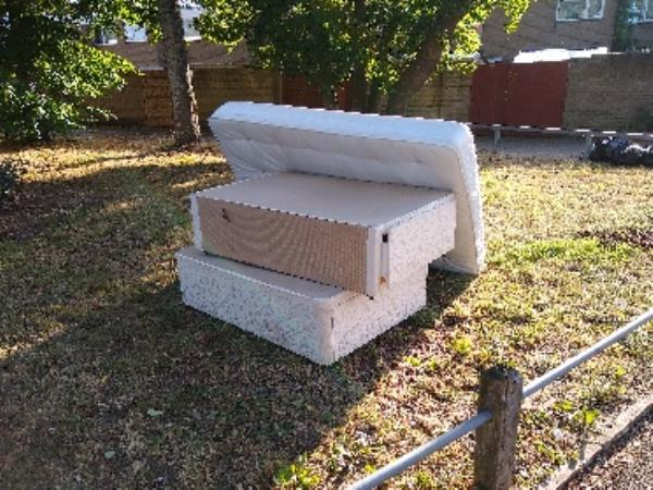 mattress and bed base dumped. Mayfield road, opposite Chaucer by bus stop.-166 Caswell Cl, Farnborough GU14 8TG, UK