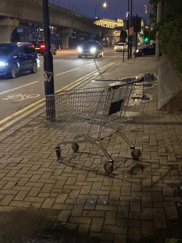 Dumped shopping trolley by seating area between Boxley Street and Hannameel Street-1 BOXLEY, North Woolwich, E16 2AN