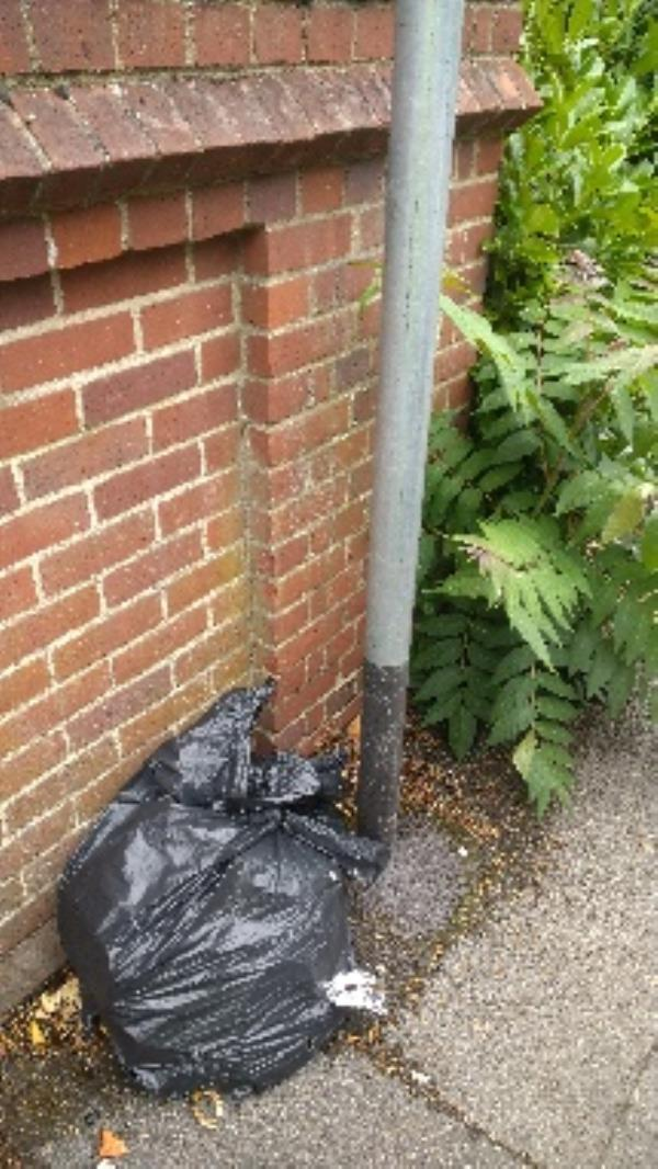 Flytipped bag of household waste no evidence taken -76 Elmhurst Road, Reading, RG1 5HY