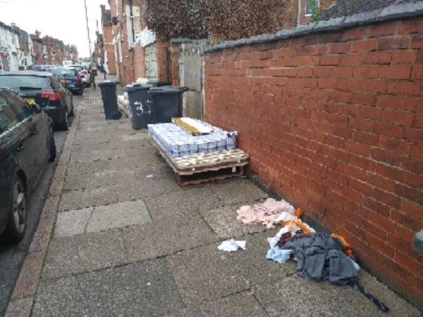 clothes mattress and sofa put out with wheelie bins-39 Raymond Rd, Leicester LE3 2AT, UK