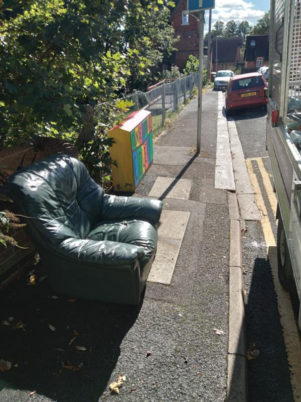 Flytipped leather sofa chair no evidence taken away -31 Garnet Hill, Reading, RG1 6AU