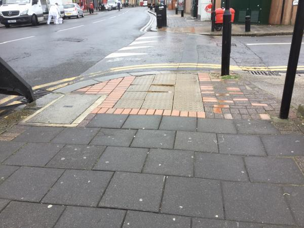 Loose and uneven footpath paving junction with monega rd e12 and high st north -424a High Street North, London, E12 6RH