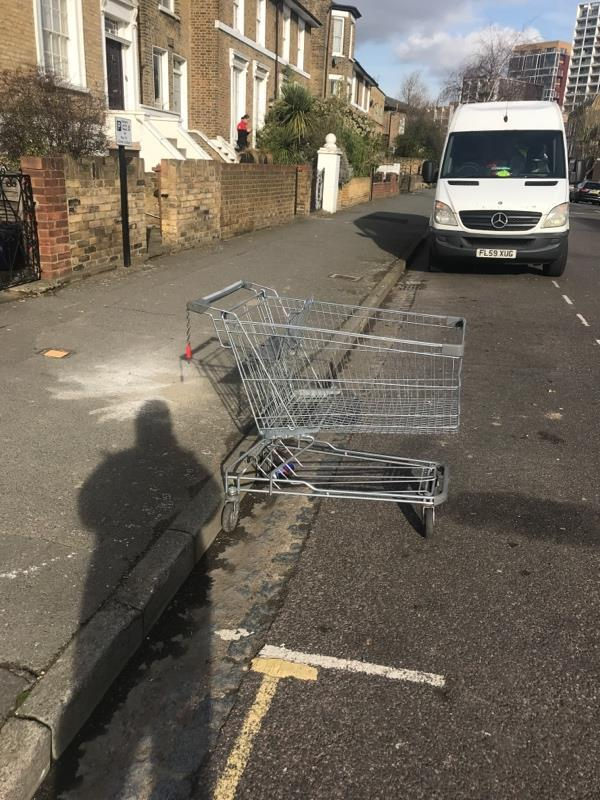 Shopping trolley left in the middle of the street-16b Stamford Road, London, N1 4