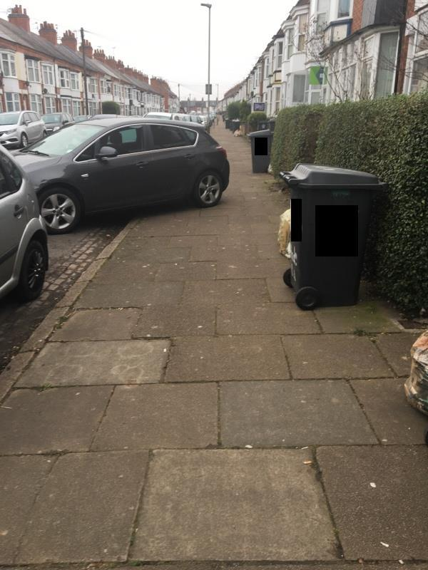 Car obstructing pavement -130-132 Highcross Street, Leicester, LE1 4PH