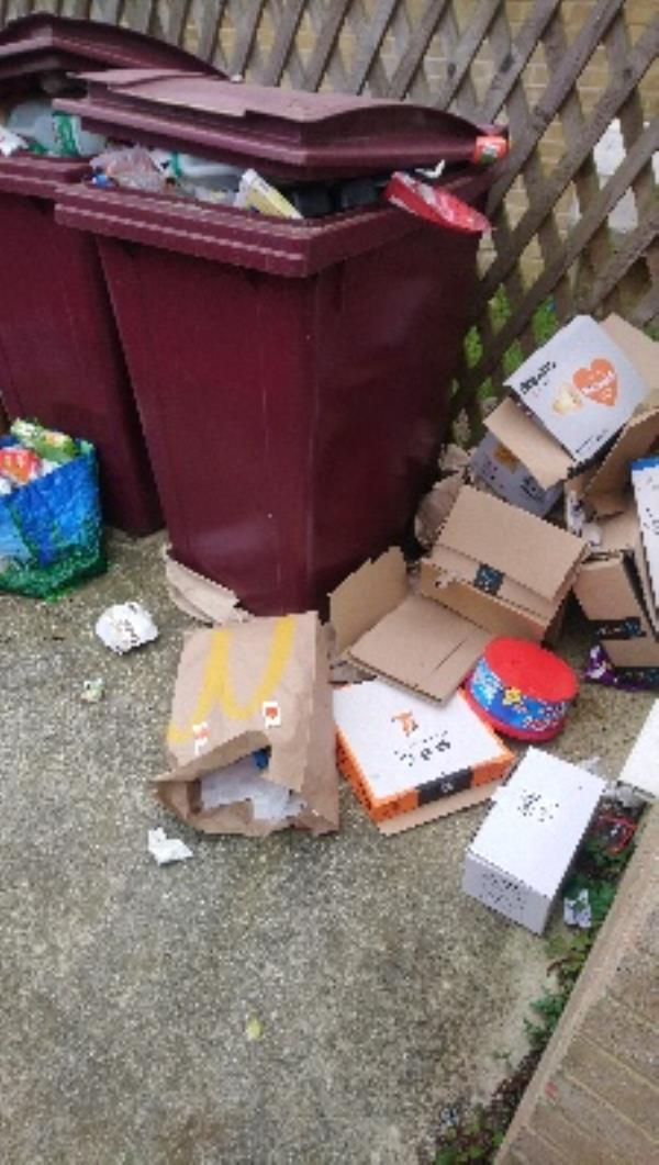 Fly tip in recycling area of 7-12 briony House -13 Vernon Crescent, Reading, RG2 8TS
