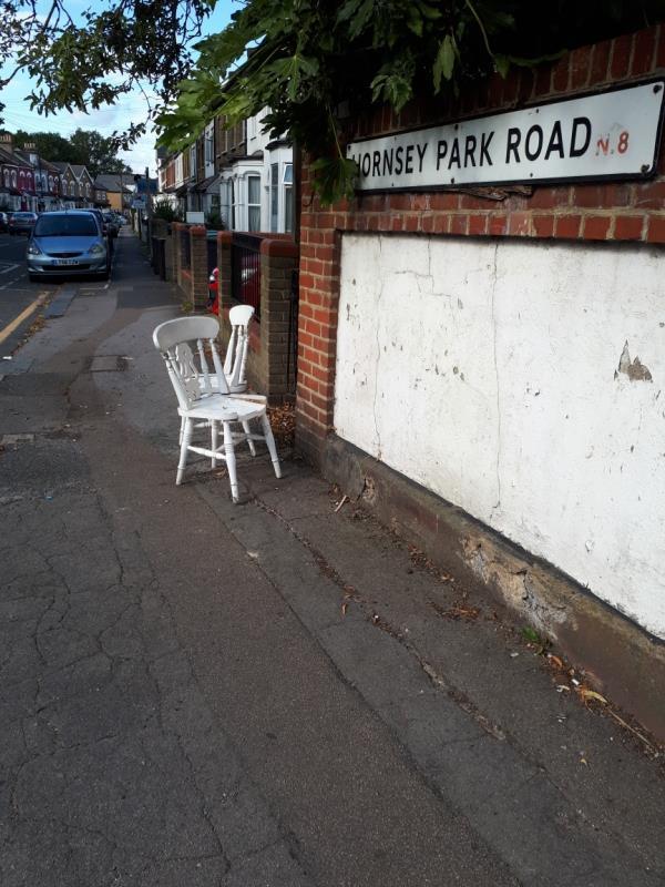 Two wooden white chairs-58a Malvern Road, London, N8 0LA