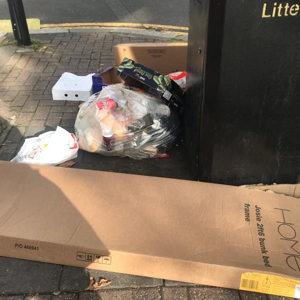 Rubbish dumped near bin. Name on package but no address  image 1-521 Katherine Road, London, E7 8DR